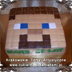 061. Tort z gry Minecraft dla dzieci z głową Steava. Minecraft cake.