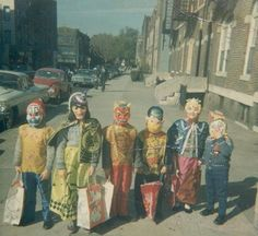 trick or treat--costumes of the fifties. They came in a box. I was Snow White in second grade. cp
