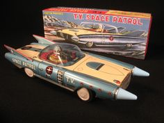Tin Friction T V Space Patrol Robot Car Made in Japan