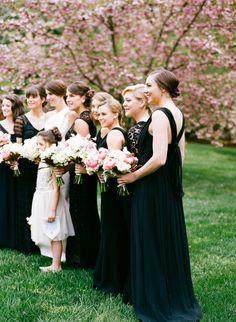 2014 Wedding Trends | Black Weddings | black bridesmaid dresses | black wedding inspiration