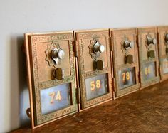 Vintage Post Office Box Door .. Brass from Etsy Shop TheFancyLamb