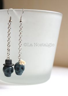 Teal skull earrings - burgundy skull jewelry - couple earrings couture - modern jewelries
