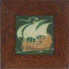 """FRAMED GRUEBY TILE - Circa 1910 Glazed Grueby Tile depicting a Spanish Galleon, initialed 'EH' in glaze verso, housed in the original Arts & Crafts fumed oak frame, SS: 8"""" square, OS: 14"""" square, fine condition #ukauctioneers"""