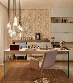 Striking living room lighting ideas for your home - Home Decoration Home Office Design, Home Office Decor, House Design, Office Style, Bureau Design, Retro Home Decor, Room Lights, Ceiling Lights, Hanging Lights