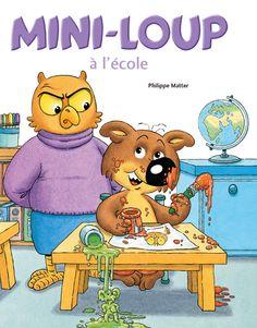 Mini-Loup à l'école - Philippe Matter. Livre, 2 livres de 22 pages + 1 stylo bille 8 couleurs , Couvertures cartonnées. 19,5 x 26,5 cm. #livre #jeunesse #mini-loup