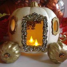 "Golden Dream Cinderella Pumpkin Coach - One of a Kind - 6"" White, with 2"" Gold wheels"