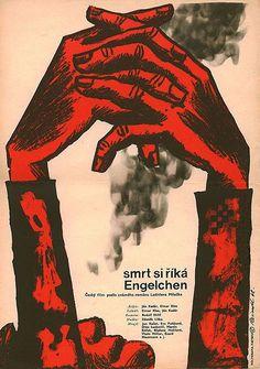 Film poster for Ján Kadár and Elmar Klos's Death Is Called Engelchen, Czechoslovakia, by Milos Reindl. Graphic Design Illustration, Graphic Art, Illustration Art, Cool Posters, Gravure, Zine, Vintage Posters, Illustrations Posters, Cover Art