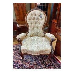 Victorian mahogany fireside armchair on porcelain castors, with floral pattern and deep button back. Millie Bobby Brown, Accent Chairs, Armchair, Porcelain, Victorian, Deep, Button, Floral, Pattern