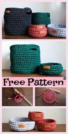 Crochet Diy 8 Most Adorable Crochet Basket Free Patterns Crochet Storage, Crochet Home, Knit Or Crochet, Crochet Stitches, Free Crochet, Crotchet, Crochet Bags, Diy Crochet Gifts, Crochet Pillow