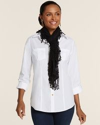 black leggings, white top, black lace scarf