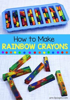 How to Melt Crayons in the Microwave to make your own rainbow crayons. Perfect for home or school. Preschoolers and kindergarten kids will love these DIY crayons! DIY Home Project How to Make Rainbow Crayons - Pre-K Pages Diy Crayons, Broken Crayons, Melting Crayons, Homemade Crayons, How To Melt Crayons, Recycled Crayons, Organizing Crayons, Crafts With Crayons, Old Crayon Crafts