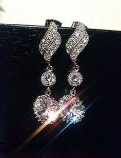 Bridal Earrings Cubic Zirconia Ear Posts by bridalaccessorieshop, $42.00