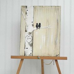 Personalized / Custom Canvas Painting Aspen Tree Love Birds Painting by LF Gallery