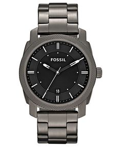 Fossil Watch, Men's Machine Gray Tone Stainless Steel Bracelet 42mm FS4774 - All Watches - Jewelry & Watches - Macy's