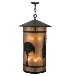 "34""W Forest Rustic Lodge Lantern Pendant"