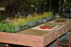 Cracked Pot Gardener: Reasons to go to the Bloom n' Garden Show 2010 - Herbs in the Kitchen Garden Plant Table, Garden Table, Formal Dining Tables, Outdoor Dining, Outdoor Spaces, Outdoor Seating, Container Herb Garden, Herbs Garden, Diy Garden Projects