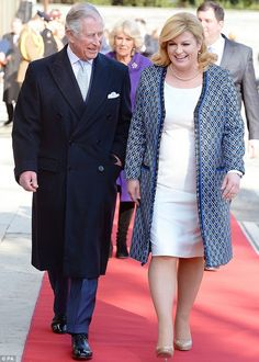 Prince Charles, Prince of Wales is officially welcomed by Croatian President Kolinda Grabar-Kitarovic as he and Camilla, Duchess of Cornwall (not pictured) arrive for a two day visit to Croatia, as part of a a royal tour of the Balkans, on March 2016 Candid Photography, Documentary Photography, Visit Croatia, Zagreb Croatia, President Of Croatia, Red And White Outfits, Close Up Portraits, Duchess Of Cornwall, Perfect Image