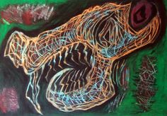 """Teschio felino II"" 2014 Tecnica mista su cartoncino 33x48 ©Pietro Gargano"
