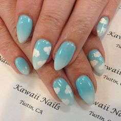 Image result for ombre nails with clouds