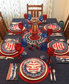 Another patriotic table setting in my tablescaping series for of July this year. I decided to get everything out and create several tables at one time so I could use some of my favorite dishes. Fourth Of July Decor, 4th Of July Celebration, 4th Of July Decorations, 4th Of July Party, July 4th, Table Decorations, Table Centerpieces, Patriotic Party, July Crafts