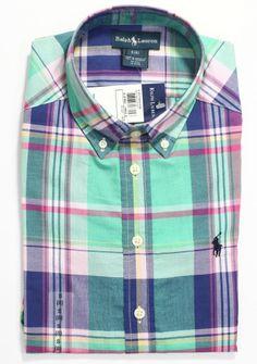 RALPH LAUREN Boy's Blake Madras Plaid Shirt, Kid's Short Sleeve Shirt, Size S, 8