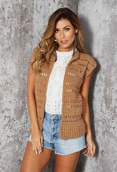 Colete Aberto Barroco Crochet Top, Boho, Knitting, Sweaters, Cardigans, Lace, Jackets, Women, Fashion