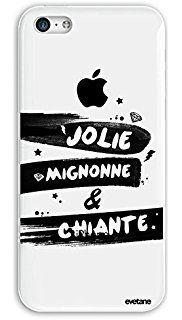 Coque rigide iPhone 5C, EVETANE® Coque rigide iPhone 5C Protection Tendance et Design Original [Jolie Mignonne et chiante] [Collection Humour] [Produit et Designé en France]