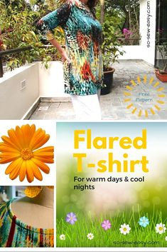Flared T-shirt Pattern For Many Seasons Of Warm Days & Cool Nights - So Sew Easy Diy Sewing Projects, Sewing Projects For Beginners, Sewing Hacks, Sewing Tutorials, Sewing Crafts, Sewing Ideas, Sewing Tips, Learn Sewing, Sewing Lessons