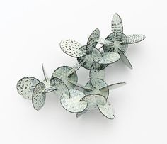 Silke Trekel, Spatial Structures,  'Cactus II'  Brooch,  2011  chased iron, enamelled  7,8 x 6,1 x 4,3 cm