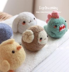 needle felted animal balls