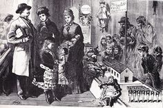 Wealthy American society members, selecting Christmas presents, in a toy store. As the poor members of society; a man, a woman, and children, look on from outside the shop window. They, being too poor and downtrodden to buy any toys, during the Chrismas season.  A sad illustration, depicting the disparity in income of the American social classes, during the era. Illustration from, the middle to late 19th century. ~ {cwlyons} ~ (Image: All About American Christmas, blog)