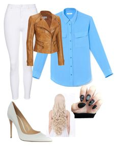 """""""Outgoing"""" by joclynfletcher ❤ liked on Polyvore featuring Equipment, Gianvito Rossi, Topshop and Andrew Marc"""