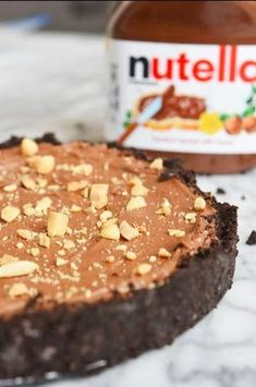 These Easy and Inexpensive Nutella Desserts Are All You Need In Life | 1000 Nutella Pie, No Bake Nutella Cheesecake, Nutella Hot Chocolate, Nutella Brownies, Nutella Recipes, Moroccan Desserts, No Bake Oatmeal Bars, Oreo Crust, Tasty