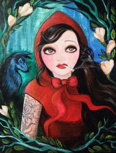 Original work acrylic on canvas. Red Riding Hood rolling her eyes at the wolf in the distance as she takes a smoke break on the road to Grandma's house. Big Teeth, Red Riding Hood, Little Red, Enchanted, 1920s, Revolution, Amanda, Disney Characters, Fictional Characters