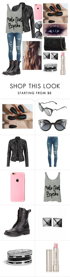 """""""edgy"""" by e-and-c-fashion-company ❤ liked on Polyvore featuring Fendi, maurices, Yves Saint Laurent, rag & bone, Waterford, GUESS, By Terry, Chanel, mattenails and cutebutpyscho"""