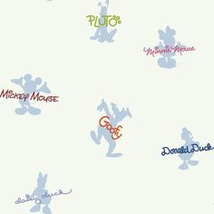Pattern# DK5939-Walt Disney Kids Mickey & Friends Autographs & Silhouettes Wallpaper Colors: White Background Packaged and sold in double rolls Double Roll Dimension: 20.5 Inches X 33 Feet = 56 Square