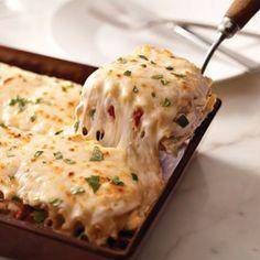 Creamy white chicken alfredo lasagna.