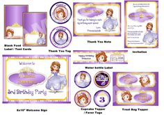 Disney Princess Party Package - Sofia the First Party Package - Printable Birthday Party Pack. $25.00, via Etsy.