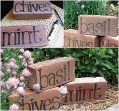 DIY Ideas For Creating Cool Garden or Yard Brick Projects Combine with the herb spiral to get labeled space saving home grown herbs that EVERYONE can indentify.