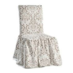 Damask Print Ruffled Dining Chair Slipcovers Set Of
