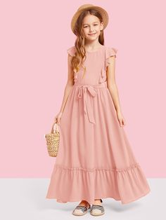 To find out about the Girls Ruffle Armhole Self Belted Dress at SHEIN, part of our latest Girls Dresses ready to shop online today! Girls Maxi Dresses, Girls Dresses Online, Little Girl Dresses, Cute Dresses, Flower Girl Dresses, Belted Dress, Striped Dress, Vestidos Color Rosa, Dress Anak