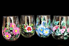 Hand Painted Wine Glasses Florals  Great for Bridal Shower  Favors, Mother's Day  Gifts , Birthday Gifts Set of 4 on Etsy, $54.00