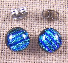 Tiny Dichroic Stud Earrings  1/4 7mm 8mm  Silver by HaydenBrook, $8.99