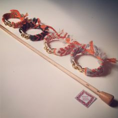 #fashion #bracelets # friendship # cute #soft #chain #orange #knit #knitting #handmade #for sale #wool