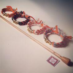 #fashion #bracelets # friendship # cute #soft #chain #orange #knit #knitting #handmade #for sale #wool