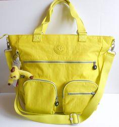NEW NWT KIPLING Elsie Tote Crossbody Bag Honeydew Yellow Green Strap & Handles  #Kipling #TotesShoppers