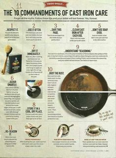 """Makes me nuts that I can't """"blow up"""" the page to read it better! But look at in on the computer... Good stuff. 11 Commandments of Cast Iron Care 