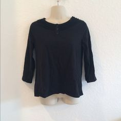 Kim Rogers Long Sleeve Top A simple and casual black shirt with some detail and buttons on the collar. It's been worn but it's still in good condition. The shirt is 100% cotton. Kim Rogers Tops Tees - Long Sleeve
