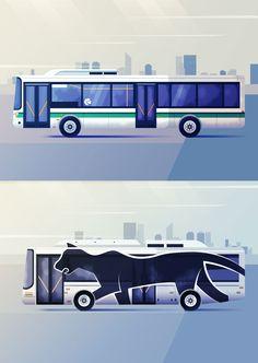 Maïté Franchi | Folio illustration agency | https://folioart.co.uk/maite-franchi | #digital #illustration #transport #bus