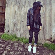 How I feel like dressing these days White air force, black gothic ninja